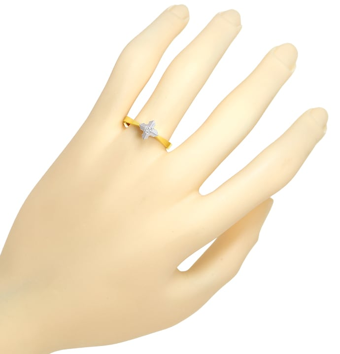 Foto 4 - Diamantring mit 0,10ct Brillant Solitär in Bicolor Gold, Q1460