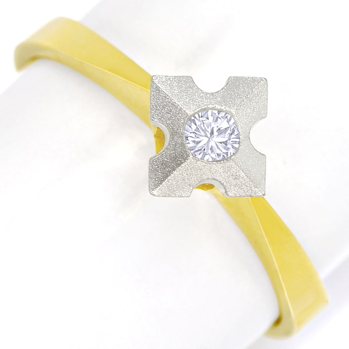Diamantring mit 0,10ct Brillant Solitär in Bicolor Gold, Designer Ring