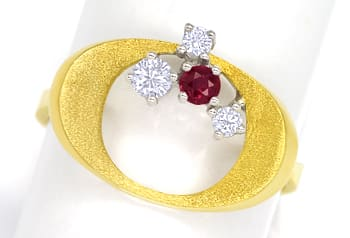 Foto 1, Design Diamantring mit Rubin und Brillanten in 14K Gold, Q1463