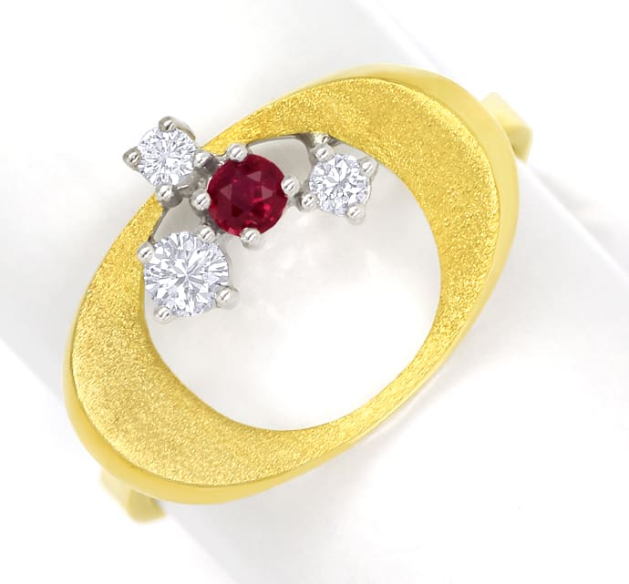 Foto 2, Design Diamantring mit Rubin und Brillanten in 14K Gold, Q1463