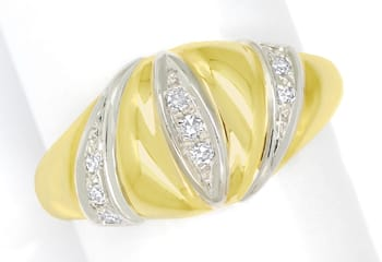 Foto 1, Design Bandring mit 0,12ct Diamanten in 14K Gold, Q1496