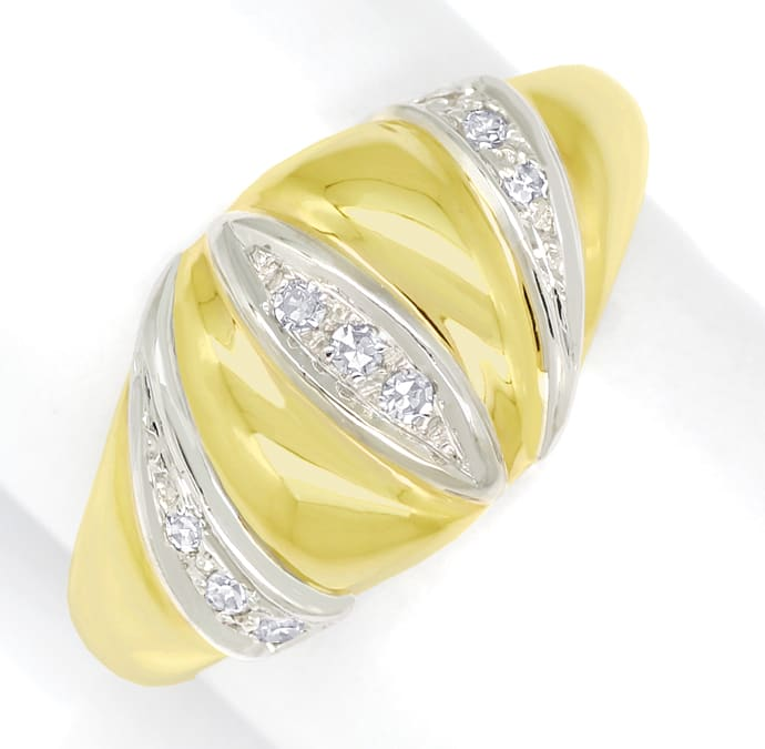 Foto 2, Design Bandring mit 0,12ct Diamanten in 14K Gold, Q1496