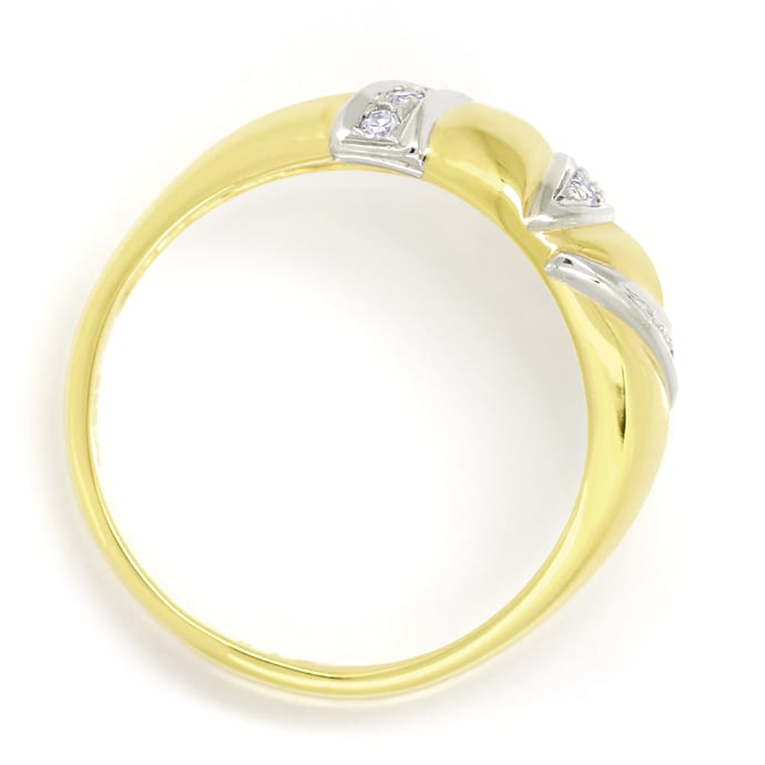 Foto 3, Design Bandring mit 0,12ct Diamanten in 14K Gold, Q1496