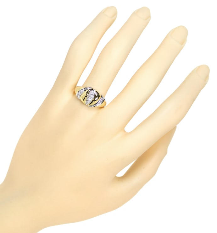 Foto 4, Design Bandring mit 0,12ct Diamanten in 14K Gold, Q1496