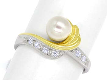 Foto 1, Diamantring Perle und Brillanten 14K Bicolor Gold, Q1517