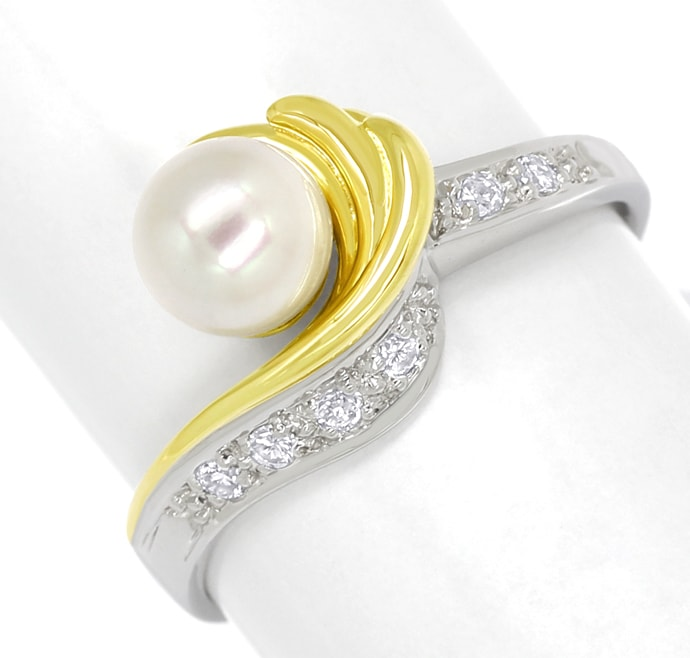 Foto 2, Diamantring Perle und Brillanten 14K Bicolor Gold, Q1517