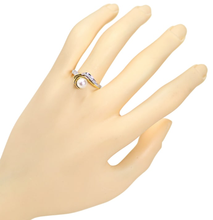Foto 4, Diamantring Perle und Brillanten 14K Bicolor Gold, Q1517