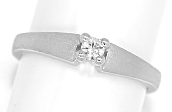 Foto 1, Diamantring 0,09ct Brillant Solitär 14K Weissgold, Q1519
