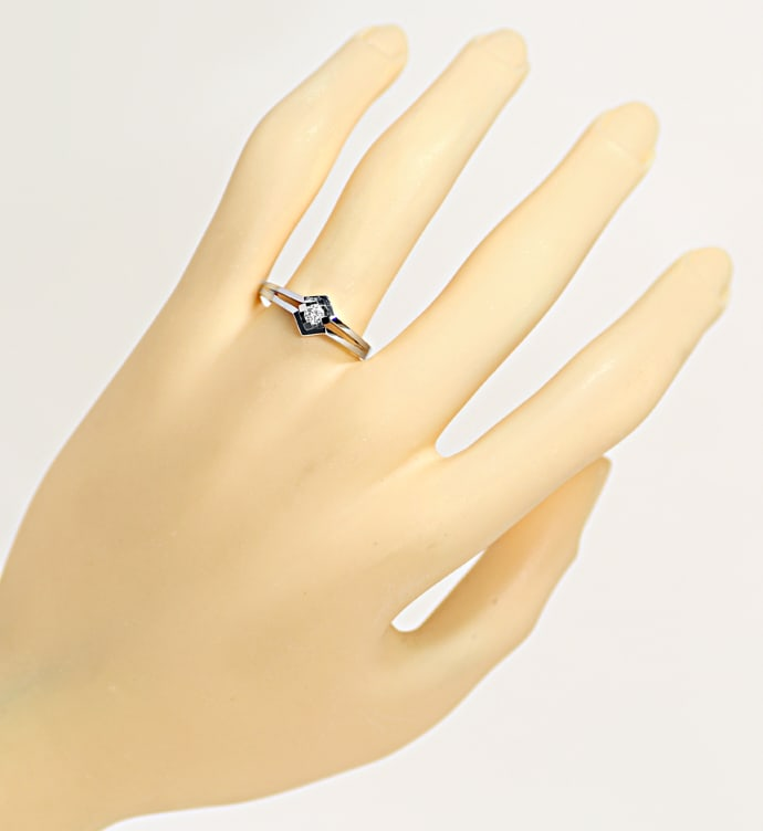 Foto 4, Design Diamantring 0,12ct Brillant Solitär Weißgold, Q1530