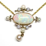 Antikes Collier Super Opal, Perlen, Diamanten, aus Gold