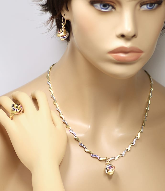 Foto 6, Schmuckset Collier, Ring, Ohrringe in 14K Tricolor Gold, Q1600