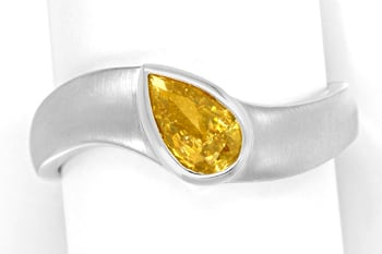 Foto 1, Weissgoldring Diamant Tropfen 0,5ct Fancy Orangy Yellow, Q1602