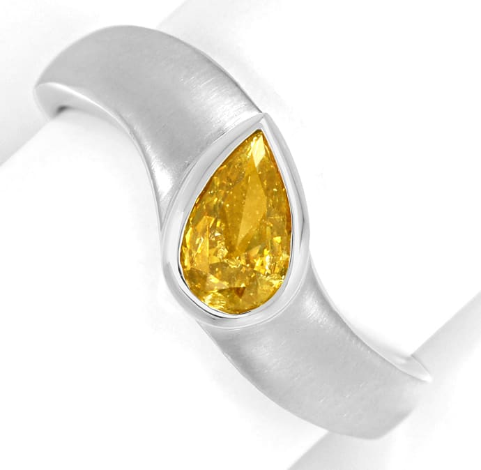 Foto 2, Weissgoldring Diamant Tropfen 0,5ct Fancy Orangy Yellow, Q1602