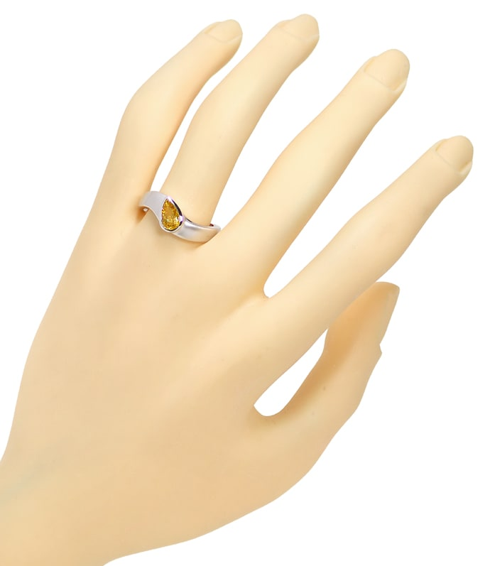 Foto 4, Weissgoldring Diamant Tropfen 0,5ct Fancy Orangy Yellow, Q1602
