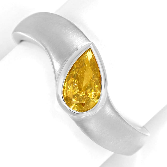 Weissgoldring Diamant Tropfen 0,5ct Fancy Orangy Yellow, Designer Ring