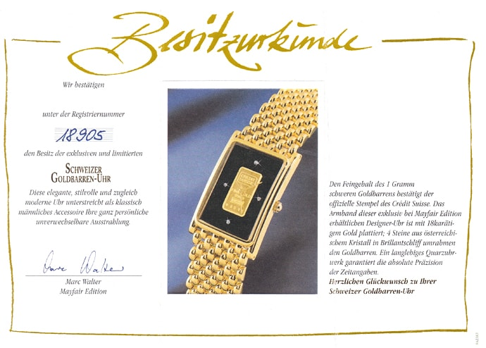 Foto 9 - Mayfair Edition Goldbarren Armbanduhr mit 1g Goldbarren, Q1626