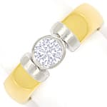 Goldring mit 0,40ct Brillant Solitär massiv 18K Bicolor