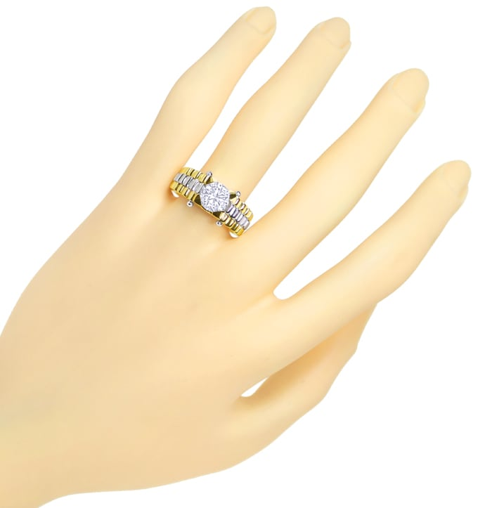 Foto 4, Diamantring mit 1,58ct Brillant Solitär in Bicolor Gold, Q1655