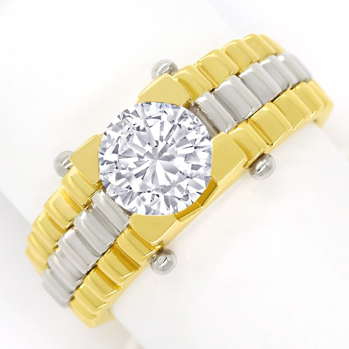 Diamantring mit 1,58ct Brillant Solitär in Bicolor Gold, Designer Ring