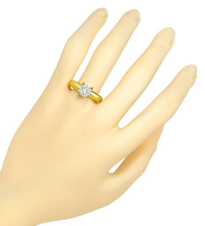 Foto 4 - Diamantring 1,35ct Brillant Solitär VVS in 18K Gelbgold, Q1664
