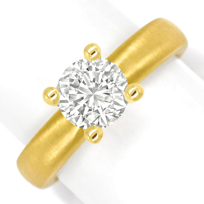 Diamantring 1,35ct Brillant Solitär VVS in 18K Gelbgold, Designer Ring