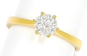 Foto 1, Diamantring mit 0,65ct Solitär Brillant in 18K Gelbgold, Q1665