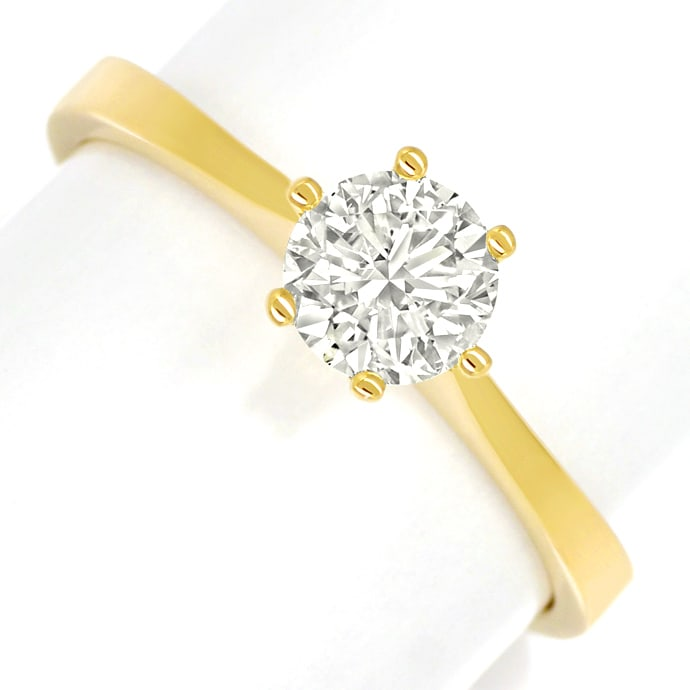 Diamantring mit 0,65ct Solitär Brillant in 18K Gelbgold, Designer Ring