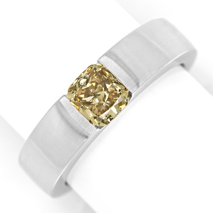 Diamantring mit 1ct Square Cushion Solitär in Weissgold, Designer Ring