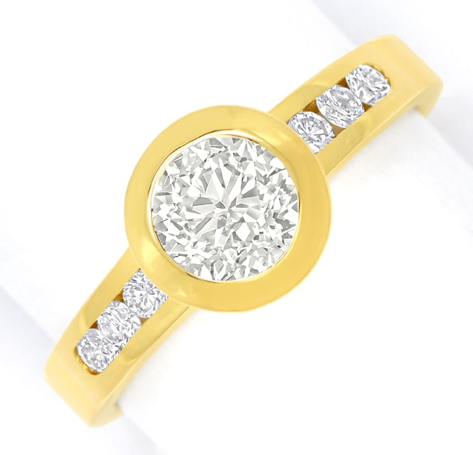 Foto 2, Diamantring 1,09ct lupenreine Diamanten in 18K Gelbgold, Q1681