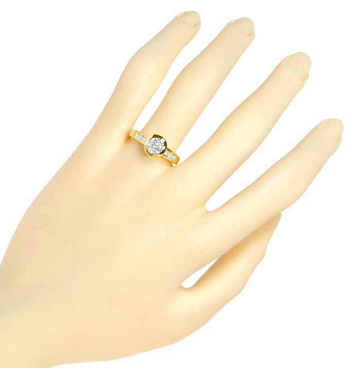 Foto 4, Diamantring 1,09ct lupenreine Diamanten in 18K Gelbgold, Q1681