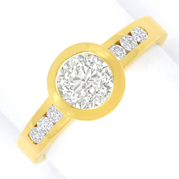 Diamantring 1,09ct lupenreine Diamanten in 18K Gelbgold, Designer Ring
