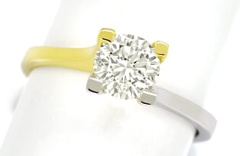 Foto 1, Diamantring 1,03ct Einkaräter Brillant Solitär 18K Gold, Q1687
