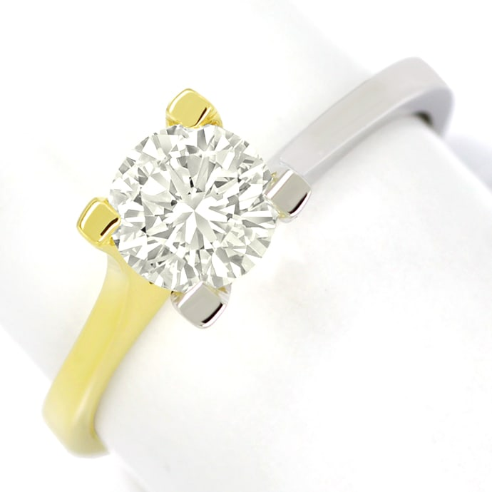 Diamantring 1,03ct Einkaräter Brillant Solitär 18K Gold, Designer Ring