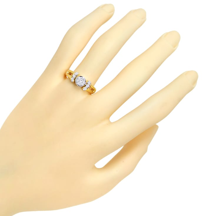Foto 4, Ring 0,58ct Brillant Solitär DPL und 0,34ct Brillianten, Q1688