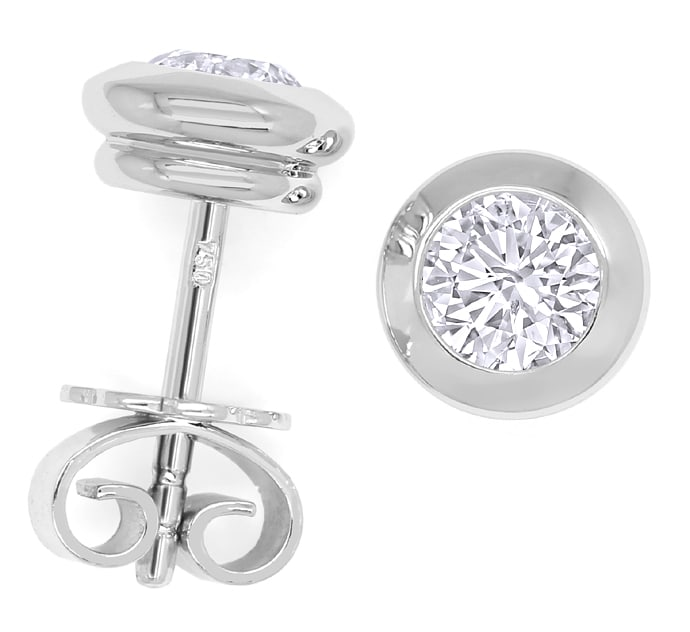 Foto 1 - Diamant Ohrstecker mit 0,80ct Brillant in 18K Weissgold, Q1770