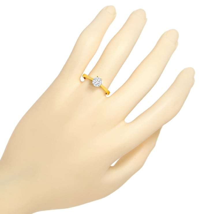 Foto 4 - 0,63ct Brillant Solitär IGI Expertise Ring 18K Gelbgold, Q1776
