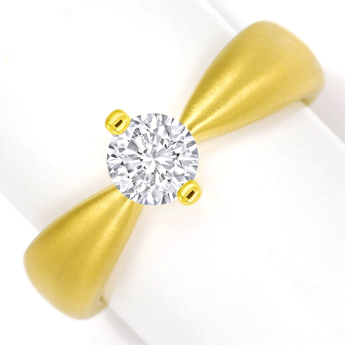 Design Diamantring mit 0,70ct Brillant Solitär Gelbgold, Designer Ring