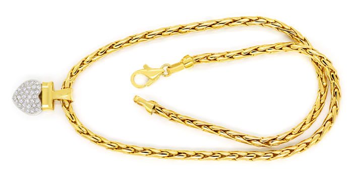 Foto 1 - Herz Collier mit 0,45ct Brillanten 14K Bicolor, Q1874