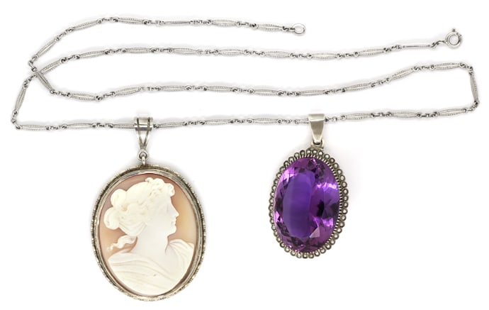 Foto 1, Altes Collier 75ct Super Amethyst, 43 Perlen, Kamee, Q1981