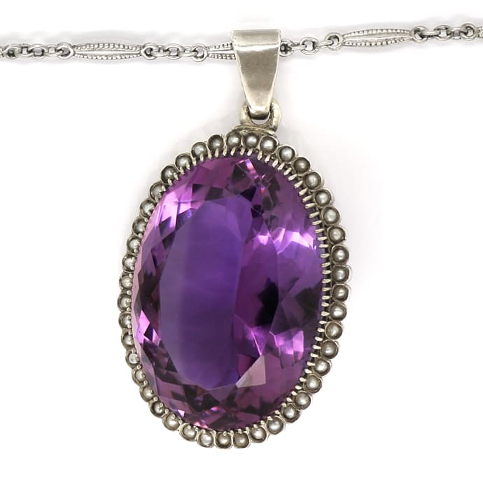 Foto 3, Altes Collier 75ct Super Amethyst, 43 Perlen, Kamee, Q1981