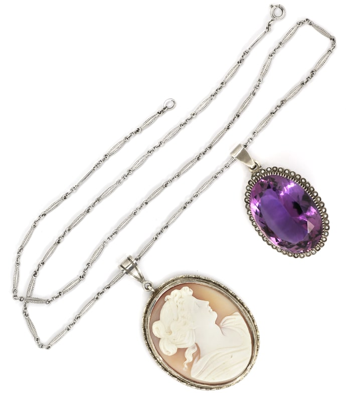 Foto 4, Altes Collier 75ct Super Amethyst, 43 Perlen, Kamee, Q1981