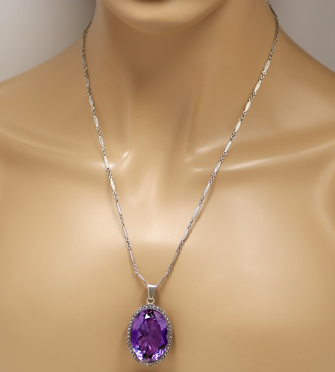 Foto 5, Altes Collier 75ct Super Amethyst, 43 Perlen, Kamee, Q1981