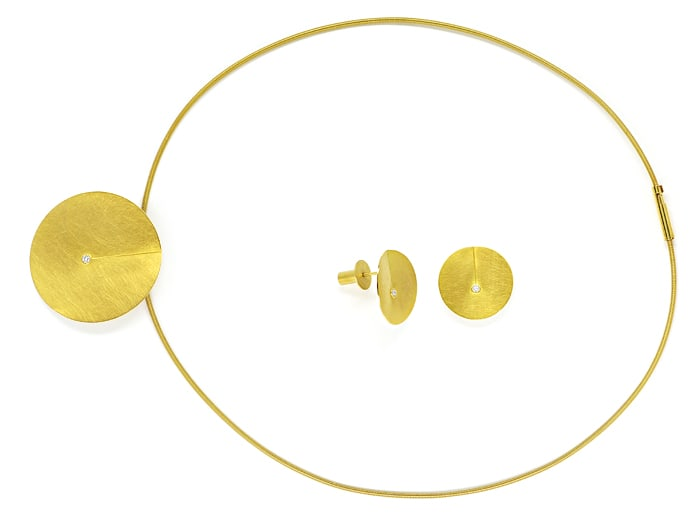 Foto 1, Niessing Leaf Collier und Ohrstecker 18K Gold, Q2032
