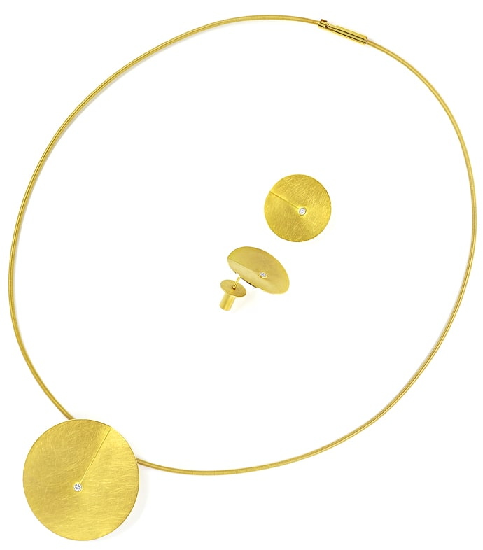 Foto 6, Niessing Leaf Collier und Ohrstecker 18K Gold, Q2032