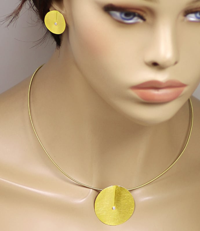 Foto 8, Niessing Leaf Collier und Ohrstecker 18K Gold, Q2032
