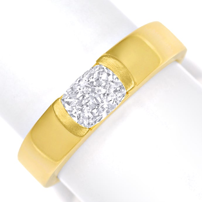 Diamantring 0,81ct Cushion Brillant IGI in Gelbgold, Designer Ring