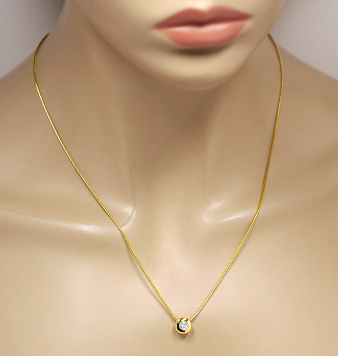 Foto 5 - Diamantcollier 18K Gold mit 0,35ct Brillant GIA, Q2179