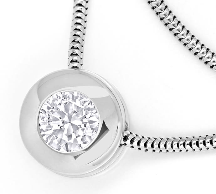 Foto 2 - Weissgold Collier 0,41ct Brillant IGI Expertise, Q2355