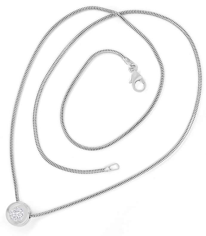 Foto 4 - Weissgold Collier 0,41ct Brillant IGI Expertise, Q2355