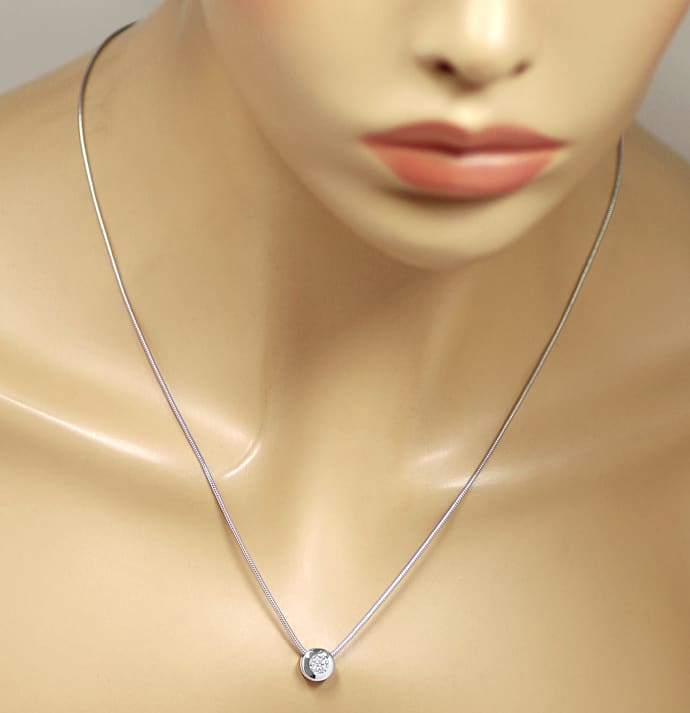 Foto 5 - Weissgold Collier 0,41ct Brillant IGI Expertise, Q2355